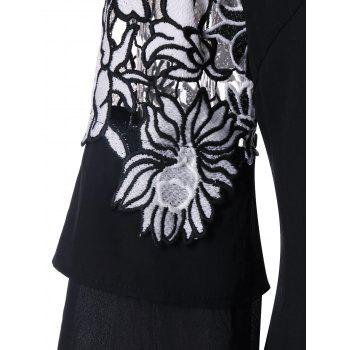 Applique Layered Bell Sleeve Top - BLACK 2XL