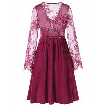 Lace Panel Flare Dress with Sleeves - RED WINE 2XL