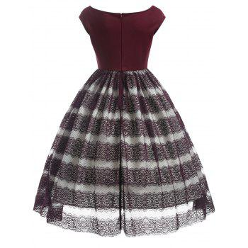 Lace Panel Scalloped Vintage Dress - RED WINE L