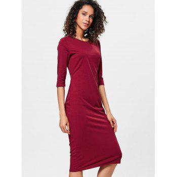 Knee Length Bodycon Shift Dress - RED WINE S
