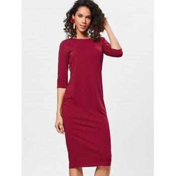Knee Length Bodycon Shift Dress - RED WINE M
