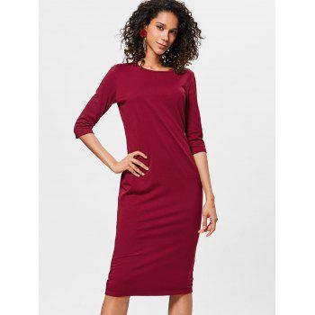 Knee Length Bodycon Shift Dress - RED WINE L