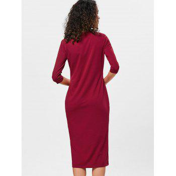 Knee Length Bodycon Shift Dress - RED WINE XL