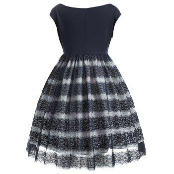 Lace A Line Plus Size Dress - DEEP BLUE L