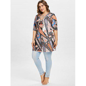 Ethnic Print Half Sleeve Plus Size T-shirt - multicolor A 4X