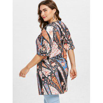 Ethnic Print Half Sleeve Plus Size T-shirt - multicolor A 1X