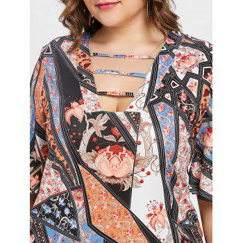 Ethnic Print Half Sleeve Plus Size T-shirt - multicolor A 2X