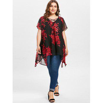 Cross Front Plus Size Floral Blouse - RED 2X