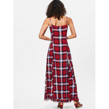 Spaghetti Strap Plaid Maxi Trapeze Dress - RED WINE 2XL