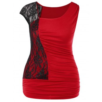 Plus Size Skew Collar Ruched T-shirt - RED 1X
