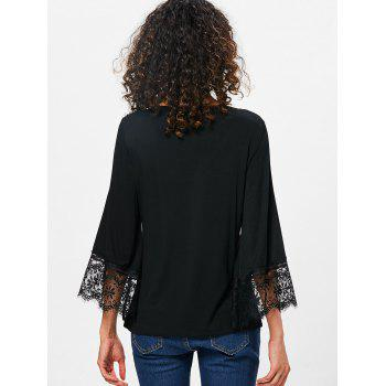 Cut Out Front Lace Cuff T-shirt - BLACK M