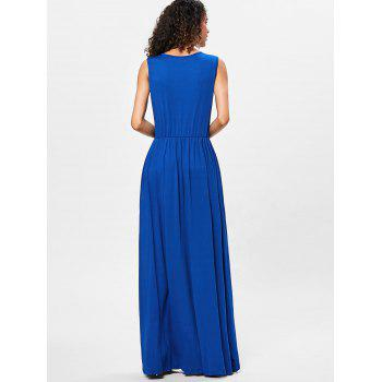 Floor Length V Neck Sleeveless Dress - ROYAL BLUE M
