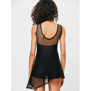 Backless Fishnet Skirted Swimsuit - BLACK L