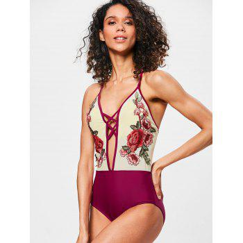 Cross Backless Mesh Embroidered Swimwear - RED M