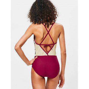 Cross Backless Mesh Embroidered Swimwear - RED L
