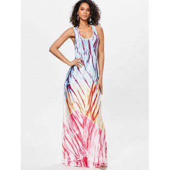 Scoop Neck Printed Floor Length Dress - ROSE RED XL