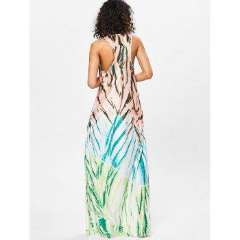 Scoop Neck Printed Floor Length Dress - GREEN XL