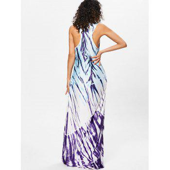 Scoop Neck Printed Floor Length Dress - PURPLE XL