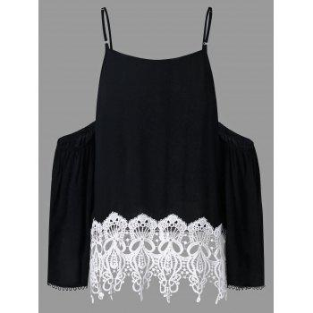 Crochet Trim Shoulder Cut Blouse - BLACK 2XL