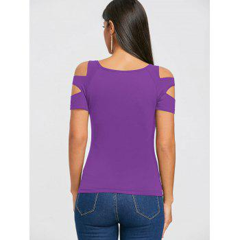 Cut Out Short Sleeve T-shirt - MEDIUM PURPLE XL