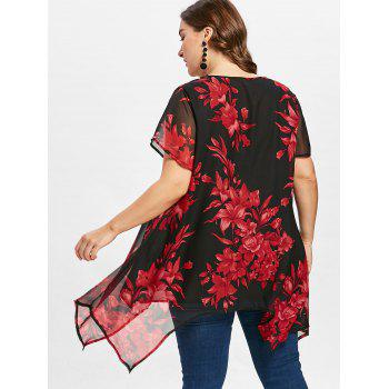 Cross Front Plus Size Floral Blouse - RED 1X