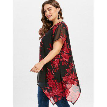 Cross Front Plus Size Floral Blouse - RED 5X
