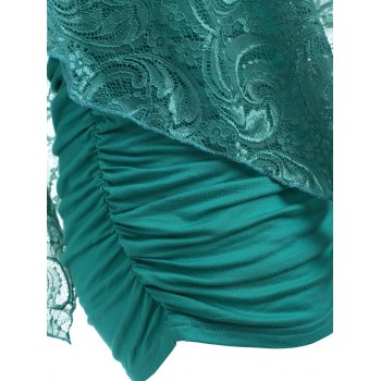 Ruched Side Lace Overlay T-shirt - LIGHT SEA GREEN XL