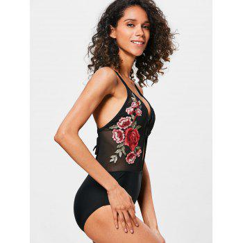 Cross Backless Mesh Embroidered Swimwear - BLACK M