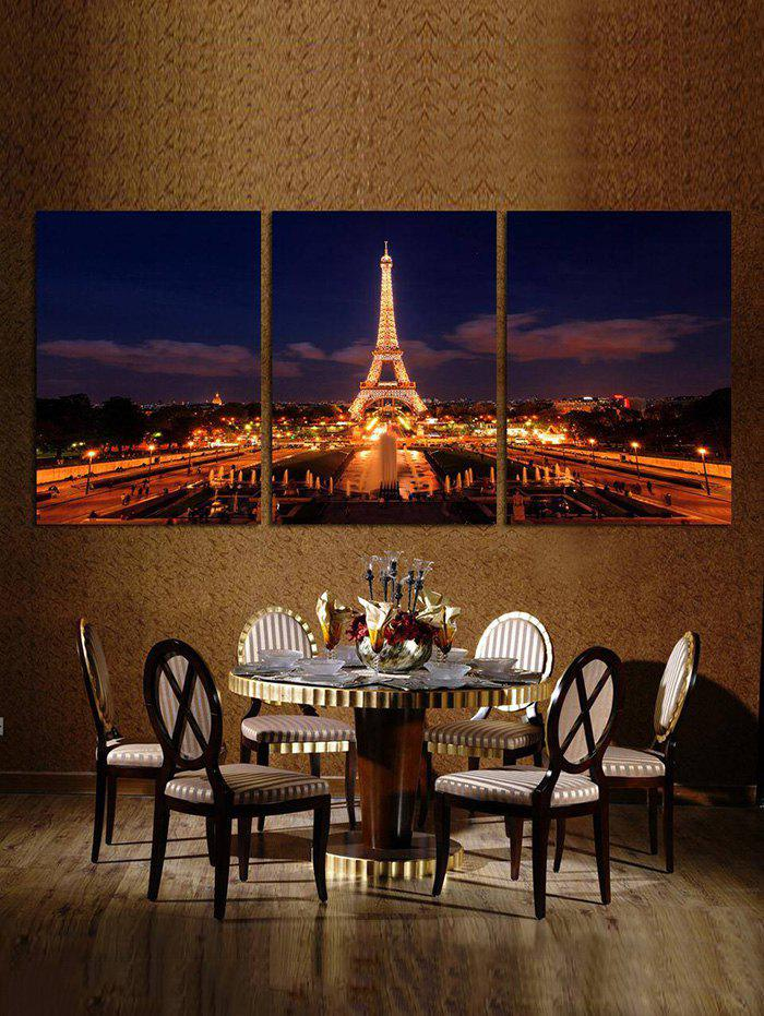 Eiffel Tower Nightscape Frameless Canvas Paintings Wall Art Print Decor - multicolor 3PC:12*18 INCH( NO FRAME )