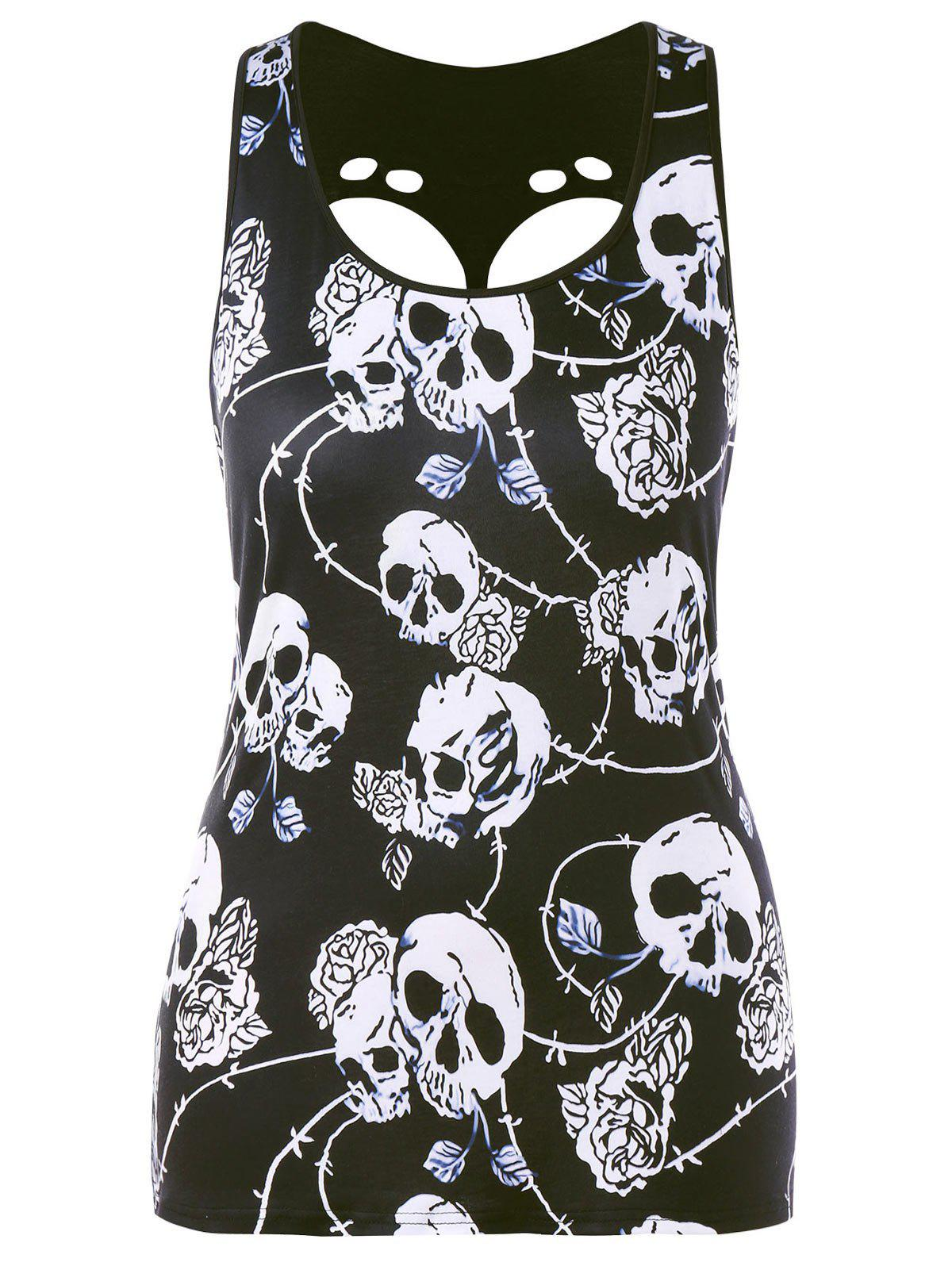 Plus Size Skull Print Cut Out Graphic Tank Top letter graphic long tank top