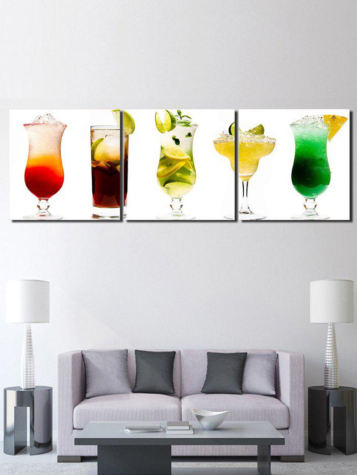 Different Fruit Juice Printed Wall Decor Canvas Paintings - multicolor 3PC:12*12 INCH( NO FRAME )