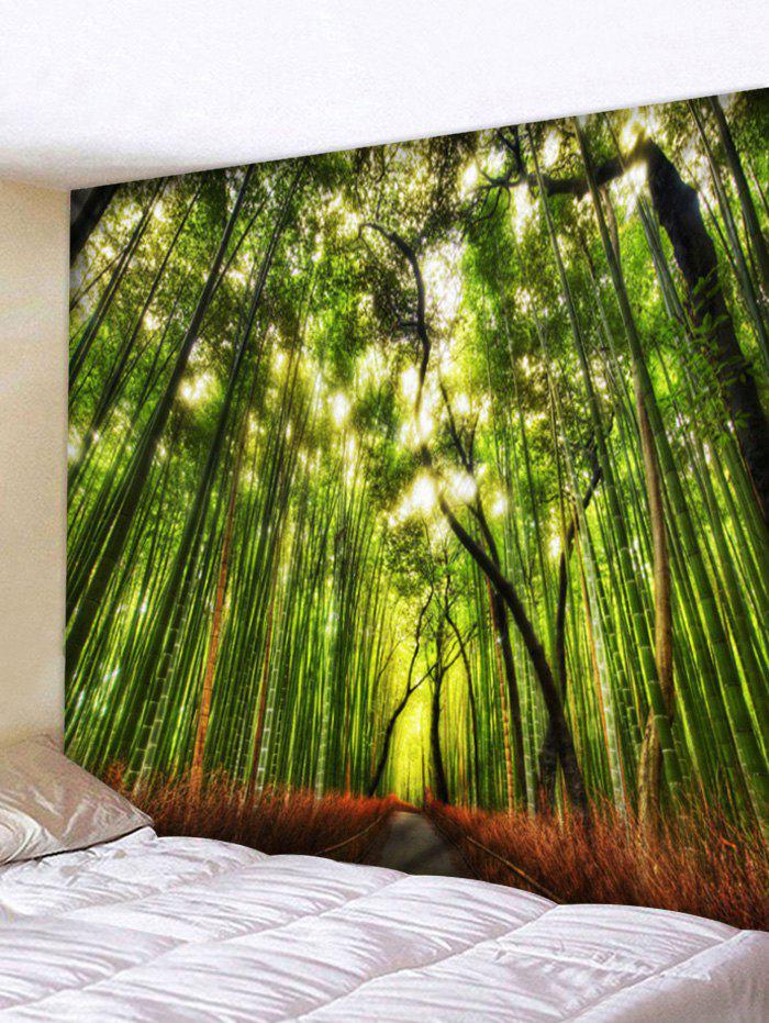 Bamboo Forest Path Print Tapestry Wall Art - GREEN W91 INCH * L71 INCH