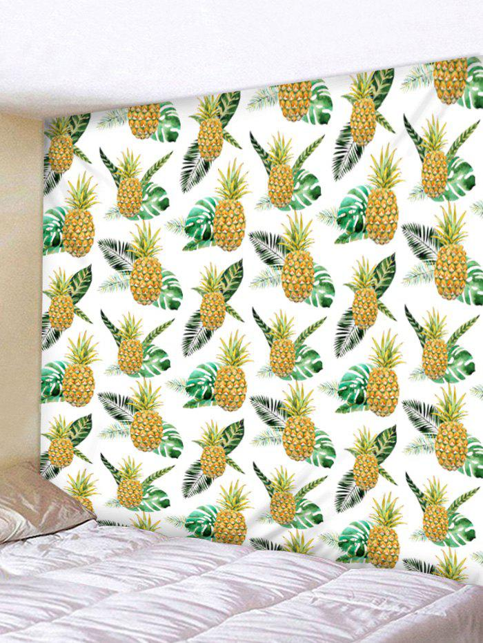 Tropical Pineapple Print Tapestry Wall Art - BRIGHT YELLOW W79 INCH * L71 INCH