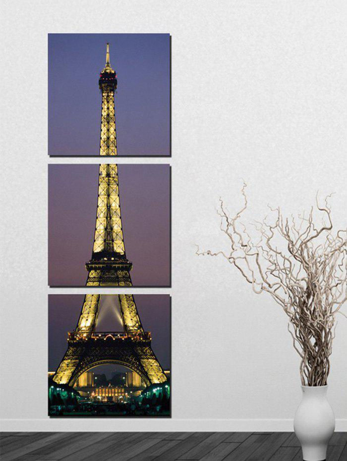 Night Eiffel Tower Painting Wall Art 3Pcs - multicolor 3PC:16*16 INCH( NO FRAME )