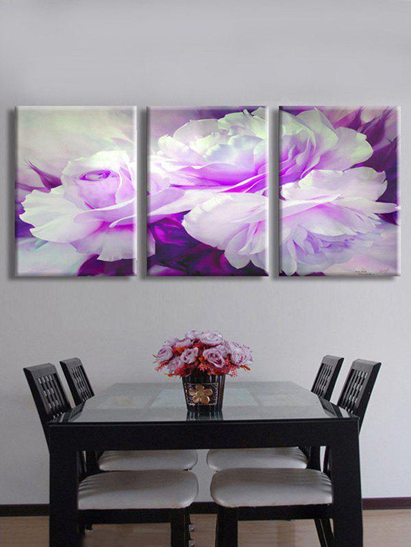 Blooming Flowers Printed Split Wall Art Canvas Paintings - MAUVE 3PC:12*18 INCH( NO FRAME )