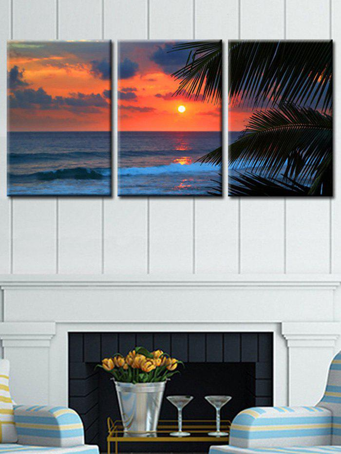 Seaside Sunset Glow Printed Unframed Canvas Paintings - multicolor 3PC:12*18 INCH( NO FRAME )