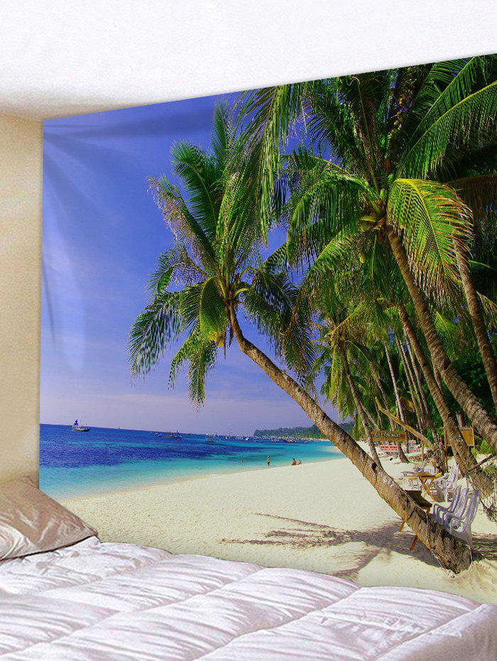 Coconut Tree Beach Sea Print Wall Tapestry - ROYAL BLUE W59 INCH * L51 INCH