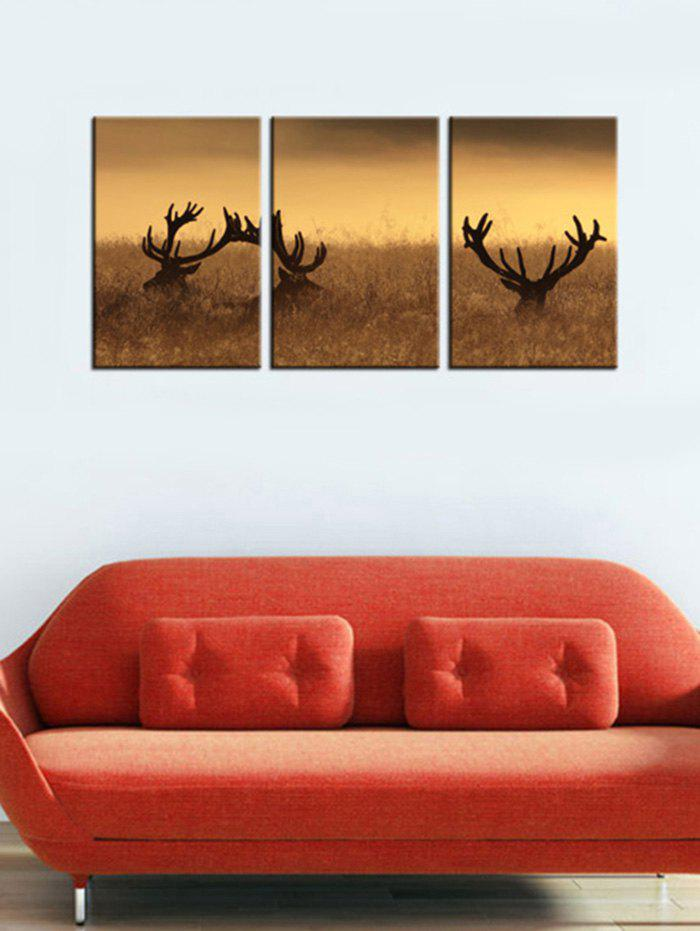 Deer Antler in the Bushes Home Decor Wall Art Painting 3Pcs - CAMEL BROWN 3PC:12*18 INCH( NO FRAME )