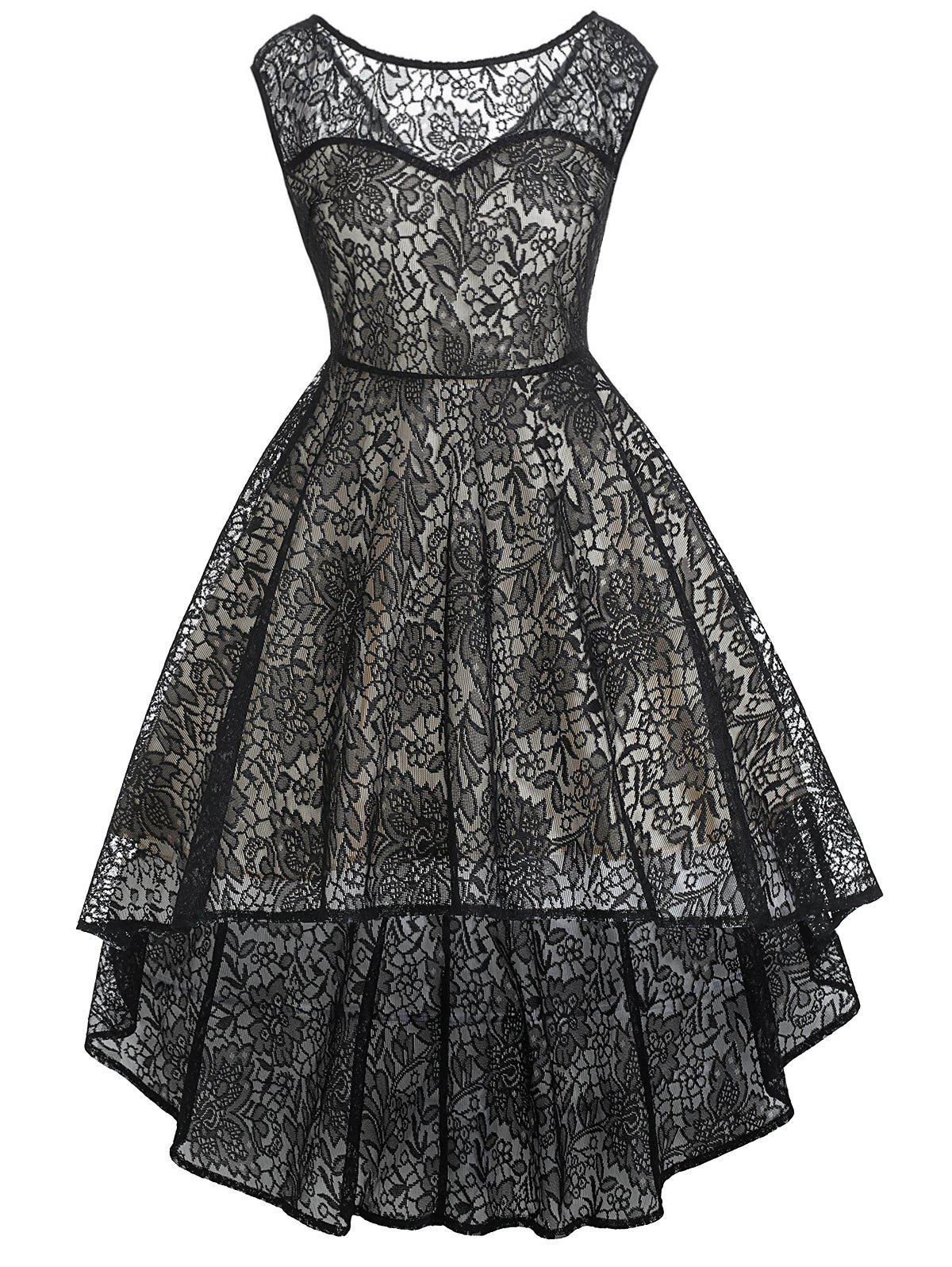 Vintage Sleeveless Lace High Low Dress - BLACK XL