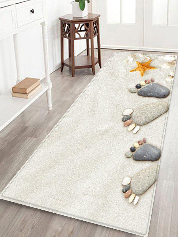 Beach Stone Footprint Pattern Anti-skid Floor Area Rug sunny beach starfish conch anti skid floor area rug