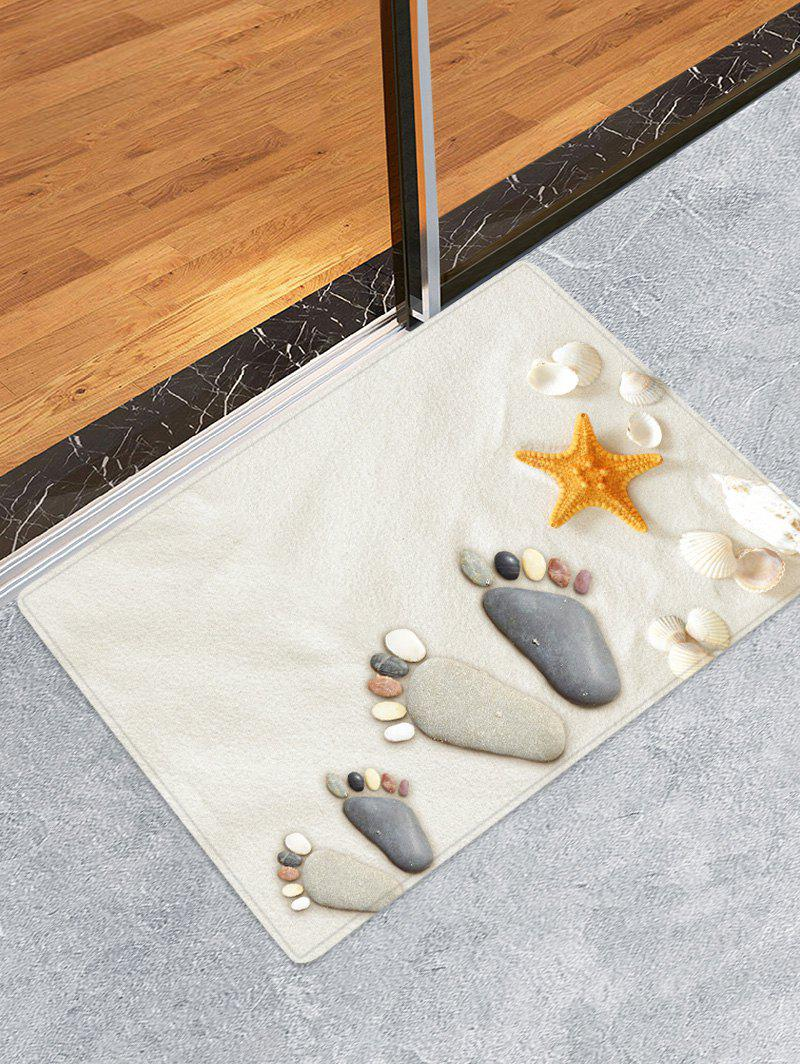 Beach Stone Footprint Pattern Anti-skid Floor Area Rug - WHITE W16 INCH * L24 INCH