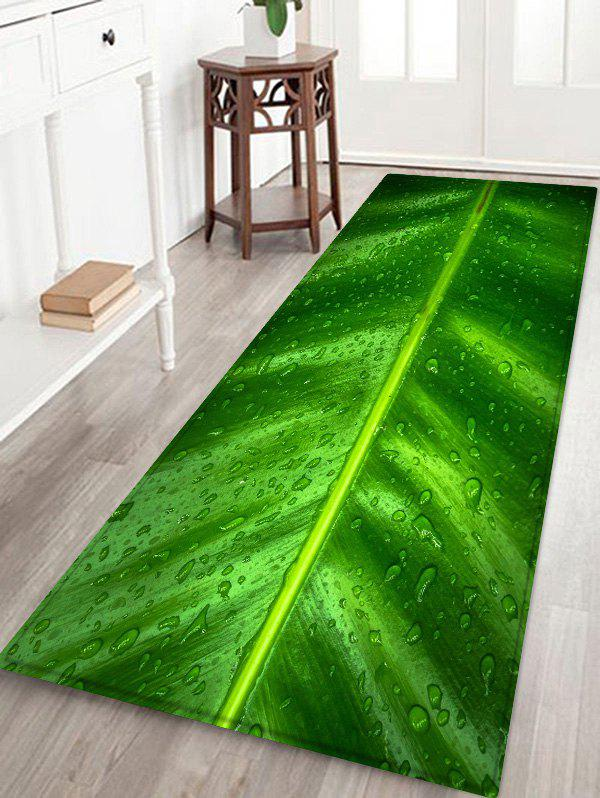 Leaf Raindrop Pattern Anti-skid Floor Area Rug - SPRING GREEN W16 INCH * L47 INCH