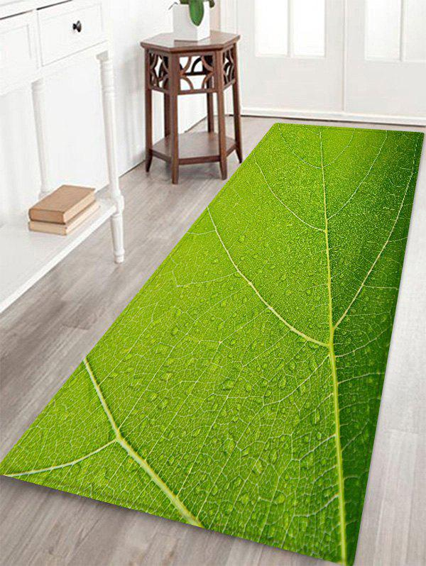 Leaf Texture Pattern Anti-skid Floor Area Rug - SPRING GREEN W24 INCH * L71 INCH