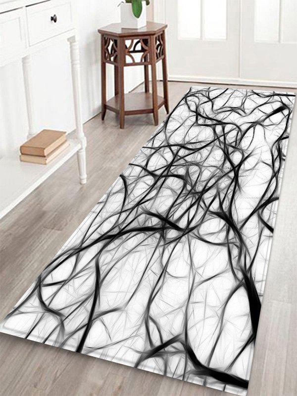 Abstract Art Pattern Anti-skid Floor Area Rug - BLACK W16 INCH * L47 INCH