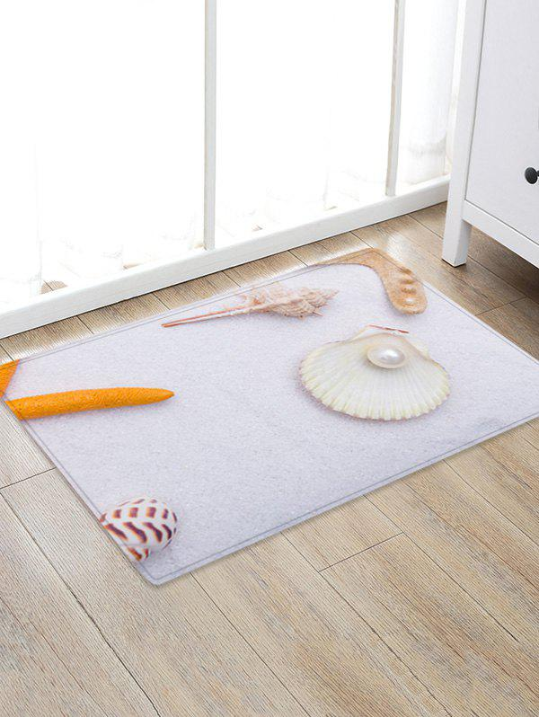 Conch Pearl Pattern Anti-skid Floor Area Rug sunny beach starfish conch anti skid floor area rug