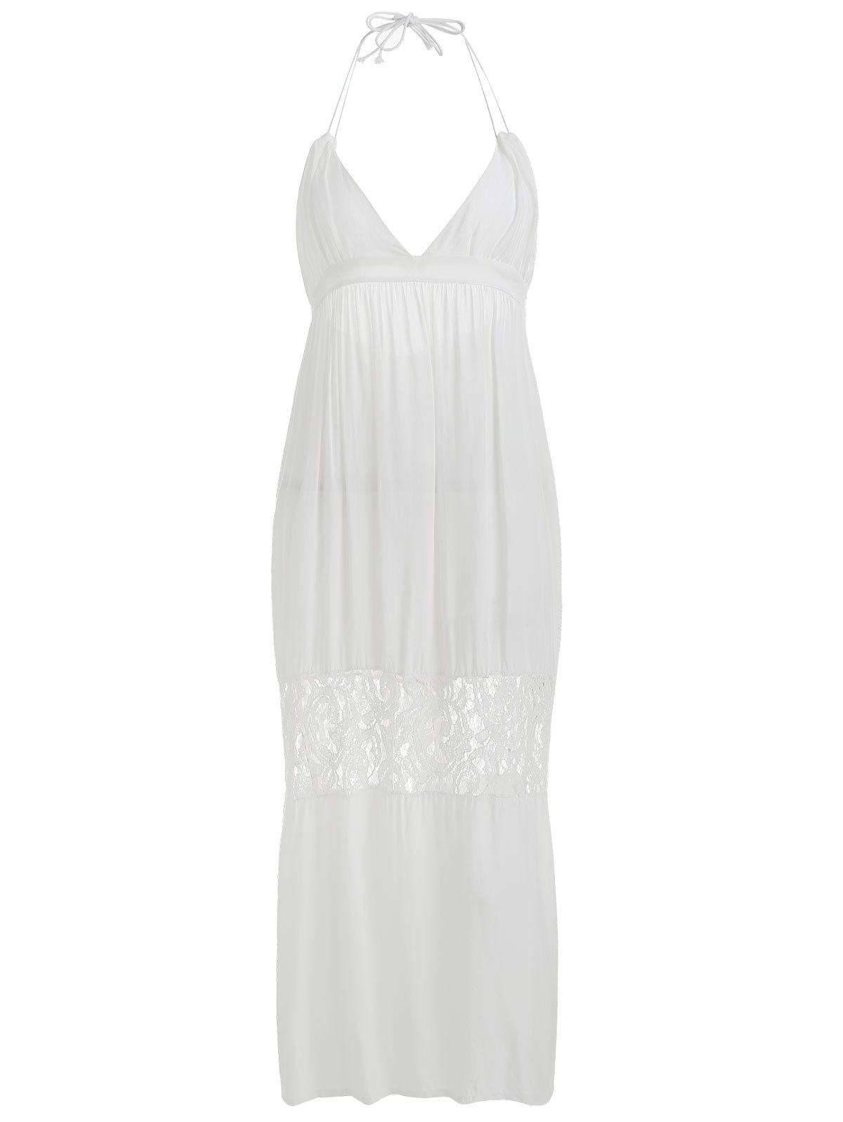 Beach Backless Lace Panel Maxi Dress - WHITE L