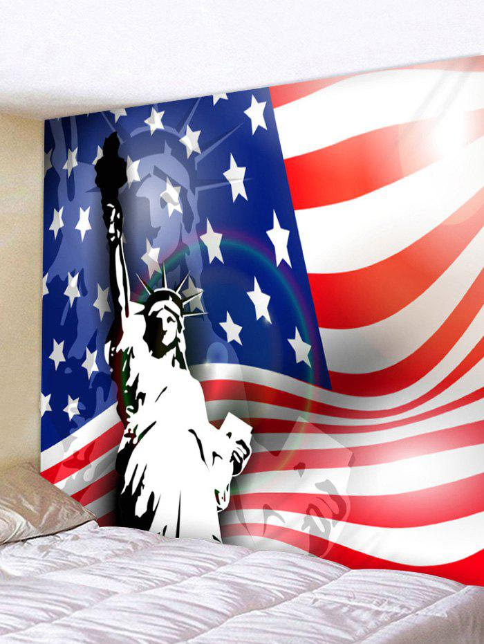 American Flag Statue of Liberty Print Tapestry Wall Art - multicolor W91 INCH * L71 INCH