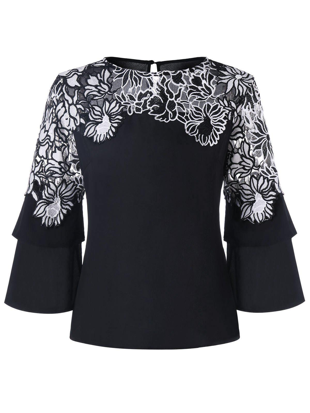 Applique Layered Bell Sleeve Top - BLACK M
