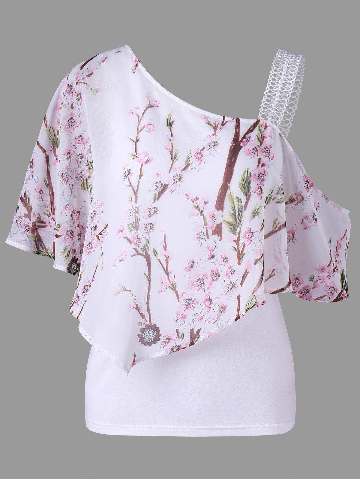 Skew Neck Open Shoulder Floral Overlay Blouse - WHITE M