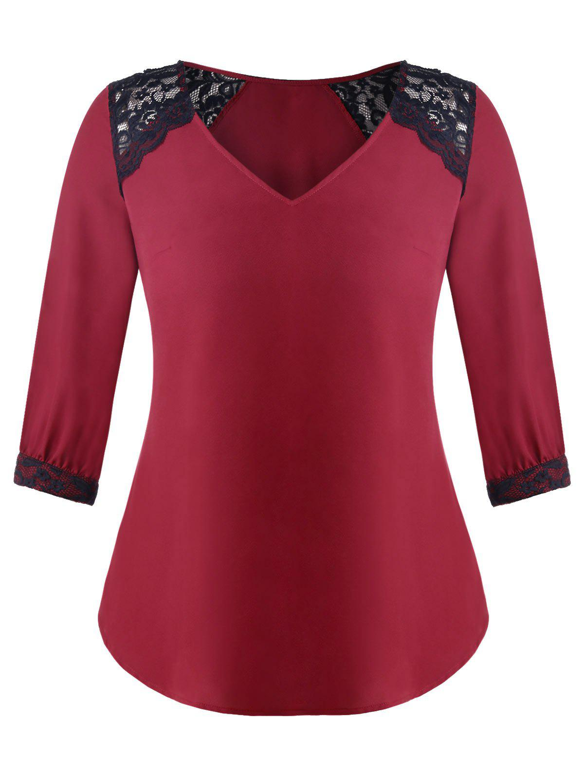 Plus Size Lace Panel V Neck Blouse eglo onja 89769